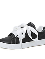 Women's Shoes PU Spring Summer Comfort Sneakers Flat Heel Round Toe Split Joint For Casual Outdoor Black White