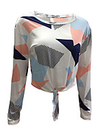 Women's Daily Holiday Sexy Street chic T-shirt,Geometric Round Neck Long Sleeves Polyester