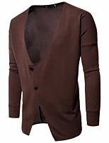 Standard Cardigan Da uomo-Per uscire Casual Tinta unita A V Manica lunga Cotone Acrilico Autunno Inverno Medio spessore Elasticizzato