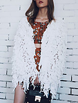 Women's Casual/Daily Simple Fall Winter Fur Coat,Solid V Neck Long Sleeve Regular Faux Fur