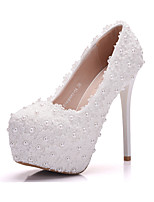 Women's Shoes PU Spring Fall Comfort Novelty Wedding Shoes Stiletto Heel Round Toe Applique Pearl For Wedding Party & Evening Blushing