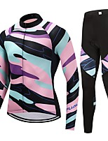 Cycling Jersey with Tights Unisex Long Sleeves Bike Clothing Suits Fast Dry Graphic Winter Cycling/Bike Blue+Pink