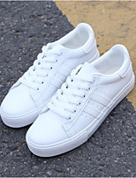 Women's Shoes PU Spring Comfort Sneakers Flat Heel For Casual Black White