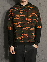 Men's Daily Casual Hoodie Color Block Camouflage Hooded Micro-elastic Cotton Long Sleeve Fall