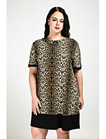Cute Ann Women's Plus Size Casual/Daily Sexy Simple Shift Dress,Leopard Round Neck Knee-length Short Sleeves Cotton Polyester All Seasons Fall