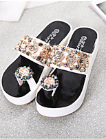 Women's Shoes PU Spring Comfort Slippers & Flip-Flops Flat Heel For Casual Gold White Black