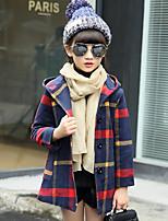 Girls' Plaid Others Jacket & Coat,Wool Cotton Fall Winter Long Sleeve