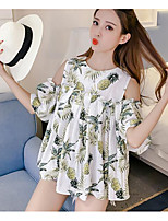 Women's Daily Casual Summer T-shirt,Print Round Neck Short Sleeves Acrylic Thin
