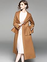 Manteau Femme,Couleur Pleine Sortie Décontracté / Quotidien Chic de Rue Automne Manches longues Col châle Longue Laine Polyester Volants