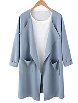 Women's Holiday Going out Punk & Gothic Sophisticated Winter Fall Trench Coat,Solid Cowl Long Sleeve Long Cotton Acrylic