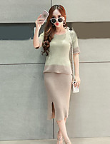 Women's Holiday Simple Spring Winter Sweater Skirt Suits,Color Block Round Neck Half Sleeves