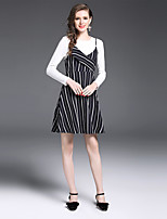 YIYEXINXIANG Women's Casual/Daily Work Simple Fall T-shirt Skirt Suits,Striped Round Neck Long Sleeve