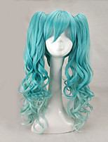 Women Synthetic Wig Capless Long Curly Mint Green With Ponytail Lolita Wig Halloween Wig Carnival Wig Cosplay Wig Costume Wig
