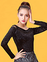 Latin Dance Tops Women's Performance Velvet Chiffon Lace Long Sleeve Tops
