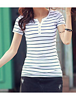 Women's Daily Casual T-shirt,Striped Sweetheart Short Sleeves Cotton Linen