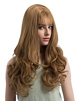 Women Synthetic Wig Capless Long Wavy Light golden Middle Part With Bangs Natural Wigs Costume Wig