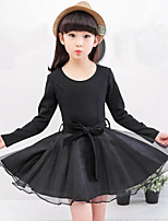 Girl's Casual/Daily Solid Patchwork Dress,Rayon Polyester Spring Fall Long Sleeve