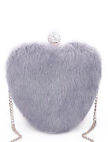 Women Bags All Seasons Fur Evening Bag Crystal Detailing Feathers / Fur for Wedding Event/Party White Black Blushing Pink Gray Purple