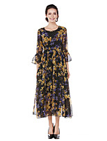 Women's Party Daily Swing Dress,Floral Round Neck Midi Long Sleeves Polyester Fall All Seasons Mid Rise Inelastic Medium