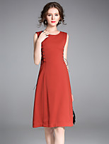Women's Party Going out Street chic Sophisticated A Line Dress,Solid Round Neck Above Knee Sleeveless Cotton Polyester Spring Fall Mid