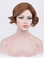 Femme Perruque Synthétique Sans bonnet Court Frisés Marron Au Milieu Coupe Carré Perruque Naturelle Perruque de fête Perruque de