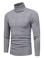 Men's Plus Size Casual/Daily Simple Regular Pullover,Plaid Turtleneck Long Sleeves Polyester Spandex Others Fall Winter Medium
