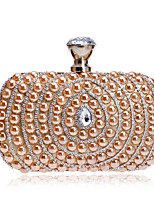 Women Bags Polyester Evening Bag Buttons Pearl Detailing for Casual All Seasons Champagne Silver