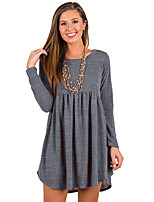 Women's Daily Casual Spring Fall T-shirt,Solid Round Neck Long Sleeves Cashmere Polyester Medium