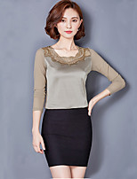 Women's Daily Sexy Spring Fall T-shirt,Solid Round Neck Long Sleeves Silk Polyester Medium