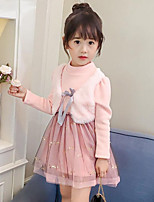Girl's Casual/Daily Going out Patchwork Dress,Rayon Polyester Fall Winter Long Sleeve