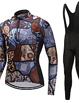 Cycling Jersey with Bib Tights Unisex Long Sleeves Bike Clothing Suits Windproof Geometric Classic Floral / Botanical Winter Cycling/Bike