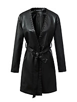 Women's Party Vintage Winter Trench Coat,Solid V Neck Long PU