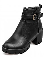 Femme Chaussures Similicuir Polyuréthane Automne Hiver Confort Nouveauté Botillons Bottes Gros Talon Bout rond Bottine/Demi Botte Boucle