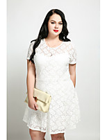 Cute Ann Women's Plus Size Casual/Daily Sexy Vintage Cute A Line Dress,Solid Round Neck Knee-length Short Sleeves Cotton Polyester Spandex All