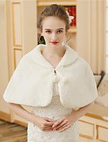 Faux Fur Wedding Party / Evening Women's Wrap With Lace-up Fur Capelets