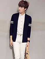 Men's Casual/Daily Regular Cardigan,Color Block Round Neck Long Sleeves Others Spring Winter Medium Micro-elastic