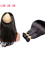 cheap -In stock Virgin Malaysian Straight Hair With Closure 360 Lace Frontal With Bundle Straight  Human Hair With Closure Fast Shipping