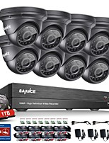 SANNCE 1080P HD Video 8CH AHD DVR with 2.0MP Indoor Outdoor IR Security Camera System 1TB HDD