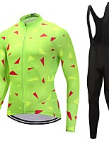 Cycling Jersey with Bib Tights Unisex Long Sleeves Bike Clothing Suits Windproof Solid Geometric Fashion Winter Cycling/Bike White Black