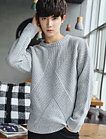 Men's Work Regular Pullover,Solid Crew Neck Long Sleeves Others Spring Winter Medium Micro-elastic