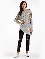 Women's Daily Holiday Casual Street chic T-shirt,Polka Dot Round Neck Long Sleeves Cotton