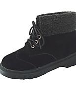 Feminino Sapatos Couro Ecológico Outono Inverno Coturnos Botas Salto Baixo Ponta Redonda Botas Cano Médio Cadarço Para Casual Preto