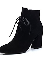 Women's Shoes Suede Fall Combat Boots Boots Chunky Heel Pointed Toe Lace-up For Casual Dark Brown Black