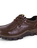Men's Shoes Nappa Leather Fall Winter Comfort Oxfords Lace-up For Casual Outdoor Coffee Black