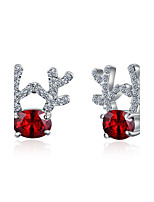 Women's Stud Earrings Crystal Cubic Zirconia Personalized Hypoallergenic Silver Plated Alloy Geometric Giraffe Jewelry For Party Christmas
