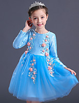 Girl's Birthday Going out Solid Floral Dress,Cotton Polyester Winter Fall Long Sleeve Blue
