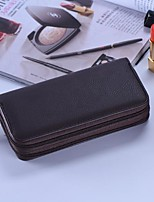 Men Bags All Seasons Cowhide Clutch Zipper for Event/Party Formal Black
