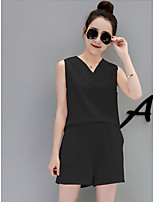 Women's Going out Street chic Summer T-shirt Pant Suits,Solid Round Neck Short Sleeve Backless Inelastic