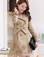 Women's Daily Going out Street chic Winter Fall Trench Coat,Solid Peaked Lapel Long Polyester