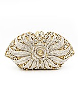 Women Bags All Seasons Metal Evening Bag Crystal Detailing Flower(s) for Wedding Event/Party Gold